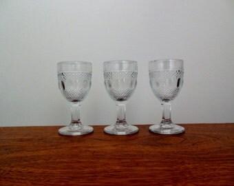 Three Dew and Raindrop Cordials by Kokomo Glass Little Pattern Glass Wine Glasses