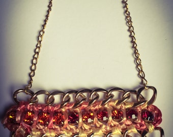 SALE Vintage fashion Handmade necklace with gold chain, strass in many colors for your summer