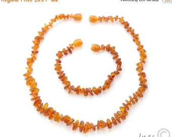 15% OFF THRU OCT Raw Unpolished Honey Baltic Amber Baby Teething Necklace and Bracelet/Anklet