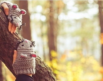 Mouse Mittens, mouse fingerless gloves, Autumn Fall Winter  Grey Forest Animals Woodland, christmas gift