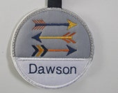 tribal arrows name tag/ arrow luggage tag/ woodlands name tag/ be brave boy name tag
