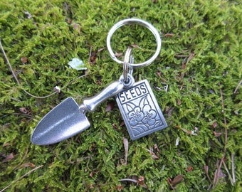 Trowel and Seed Pack Gardening Keychain