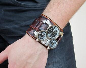 Men's wrist watch leather bracelet, Steampunk Watch, Military Watch, Brown Leather Cuff