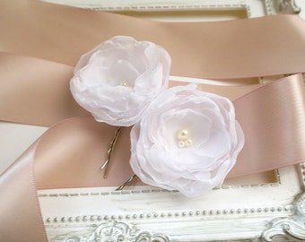 White Small Pearl hair flower Clip Pin Rose  Bridal Rustic Wedding White hairpiece headpiece Fascinator Hair Accessories Cute Lovely