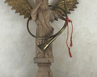 Vintage Carved Angel Statue  with French Horn Large Heavy Statue Primitive Angel Garden Angel
