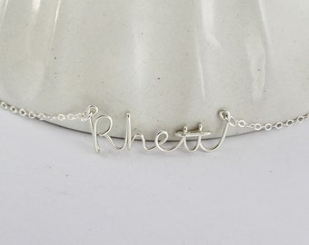 Wire Name Necklace, Personalized Handmade Name Jewelry, Custom Made Wire Writing Name or Word Necklace, Sister, Friend, Bridesmaid Gift