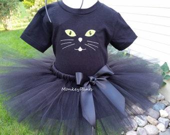 Girl Cat Costume  - Black Cat Tutu Outfit - Girl Black Cat Costume -  Baby Girl Halloween Costume - Black Kitty Tutu Outfit