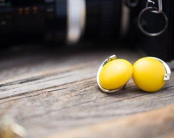 Vintage Yellow/Silvertone Button Earrings