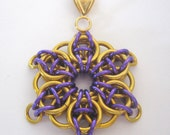 Pendant Celtic Star Anodized Aluminum Faux Gold and Purple