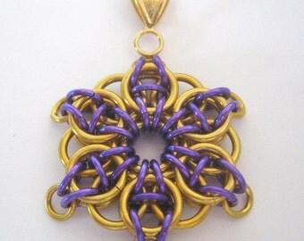 Pendant Celtic Star Anodized Aluminum Faux Gold and Purple