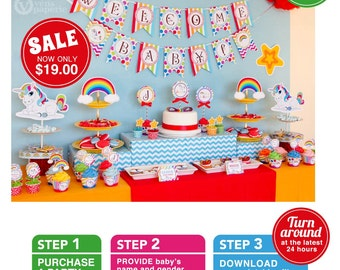 Unicorn Rainbow Party Baby Shower Package Personalized FULL Collection Set - PRINTABLE DIY - F3a