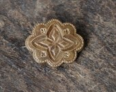 Antique Victorian Gold Filled Brooch Pendant Engraved Embossed Star Pattern Scalloped Edges 1870's // Vintage Jewelry