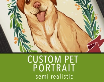 Custom pet portrait: Semi realistic style, 8.5 by 11, 8 by 10 inch, 5 by 7