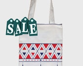 Geometric Tote Bag - blue red white