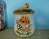 Merry Mushroom Kitchen Canister Jar 1978 Sears Roebuck Co. Ceramic Made in Japan MIJ