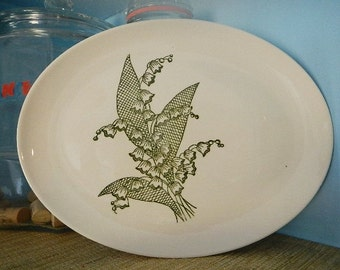 1956 Stetson China Pottery Green Print Lily of the Valley Platter Plate