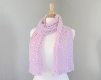 Pale Pink Cashmere Scarf, Hand Knit Knitted, Extra Long, Lace Lacy Wrap Scarf, Luxury Natural Fiber