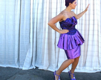 Vintage 80s Sequin Cocktail Dress - Purple Circus Showgirl Halloween Costume - MED