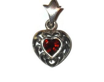 Vintage Sterling Garnet Filigree Heart Pendant