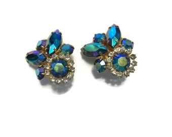 Vintage Gold Blue Green Aurora Borealis Costume Earrings