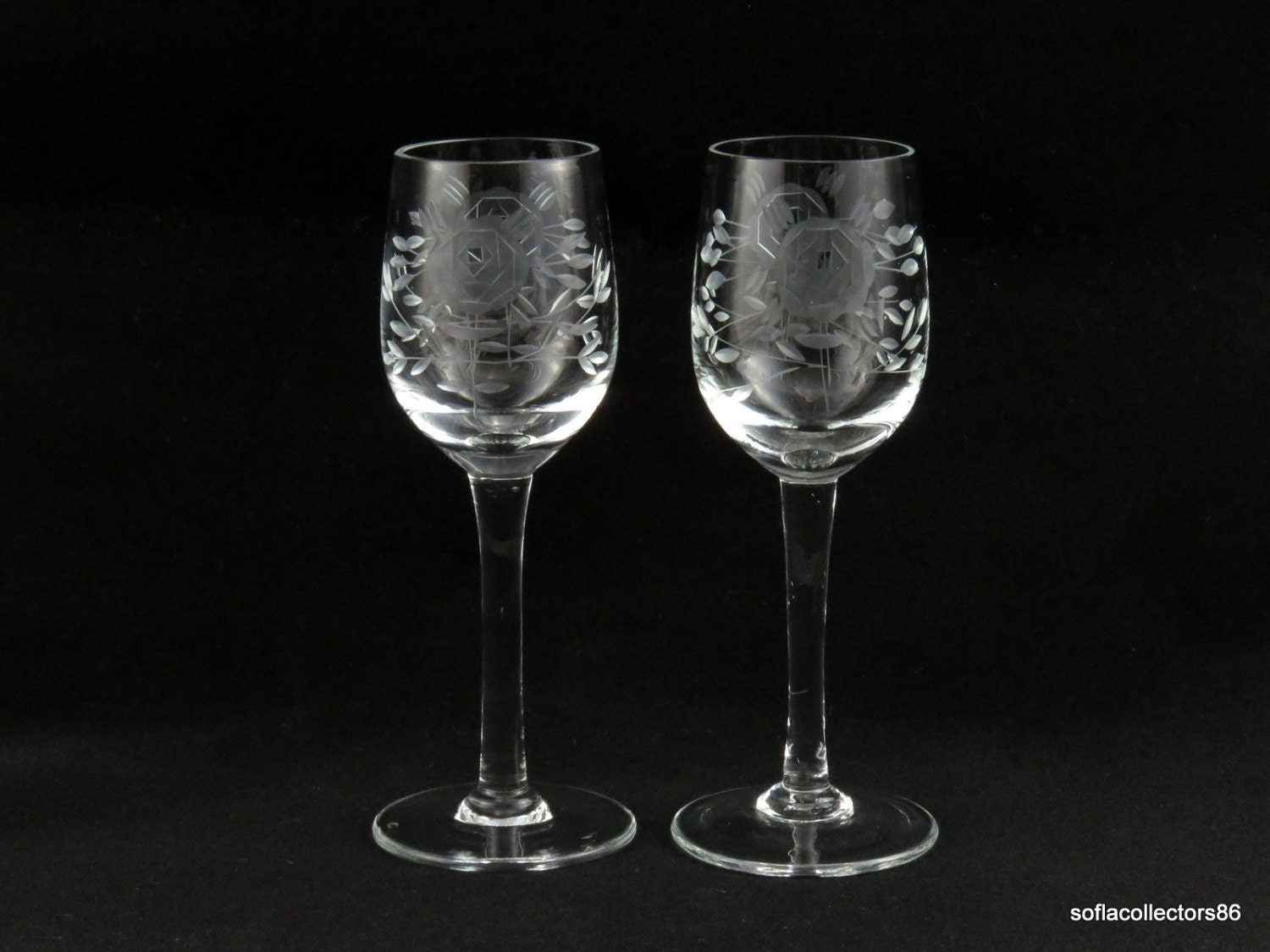 Port Wine Glasses or Sherry Glasses with Gray Cut Rose and