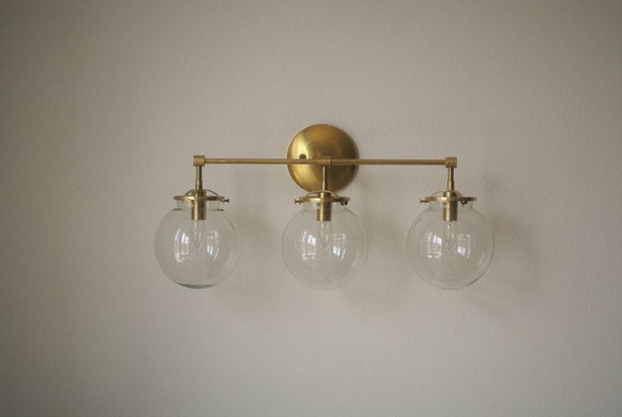 Vanity Light Glass Globes : Triple Glass Globe Brass Wall Sconce Bathroom by pepeandcarols