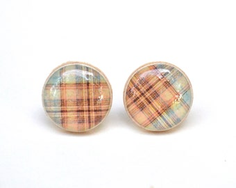 Fall Plaid Studs, plaid earrings, plaid stud earrings, twig, woodland, fall fashion, gift for her, mom gift #4