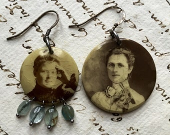Mother and Daughter Earrings. Antique portraits, Antique reconstructed, vintage assembled, repurposed