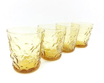 Amber On the Rocks Juice Glassware Set, Textured Yellow Glass Old Fashioned Rocks Lowball Glasses, Honey Gold Milano Lido Tumblers, Set of 4