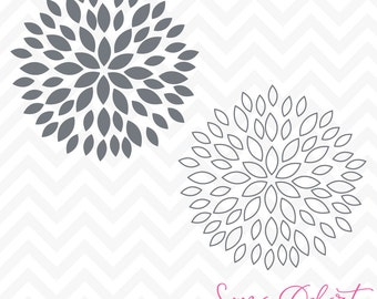 80% OFF Sale Svg Cuttables Spring Dahlia Mum Flowers Cut Files Set SDD002