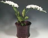 Ikebana Flower Pot - Tulip Shape Asian Vase - flower frog - Japanese Vase- Purple and Black -home decor - ceramics - pottery - stoneware