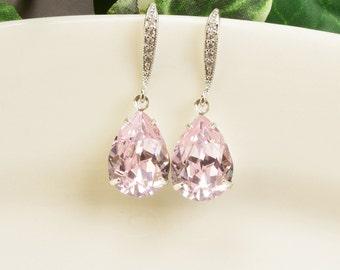 Light Pink Earrings - Swarovski Crystal Teardrop Earrings - Silver Pink Earrings - Pink Bridesmaid Earrings - Bridesmaid Jewelry - Wedding