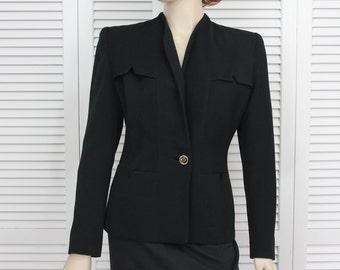 Vintage 1940s Black Jacket Art Deco Designer Size Small