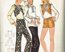 70s Hip Hugger Flared Pants/Shorts, Poet's Blouse Peasant Blosue, & Vest Pattern: Butterick 6285. Junior Petite Size 9 Bust 33 inches.