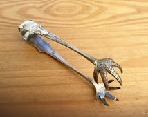 1940s Sugar Nips Ice Tongs with Claws by Mappin & Webb England Antique Silver Plate Kitchen Serving