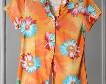 Bright Orange 90s Watercolor Flower Print Button Up Top