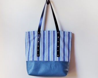 Striped Tote Bag, Blue Canvas Tote, Leather Bottom Tote