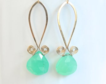 Chrysoprase Earrings- Green Gemstone Earrings- Spiral Earrings- Gold Filled Earrings- Teardrop Earrings- Emerald Green Women's Jewelry
