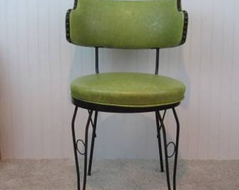 Vintage Wrought Iron and Green Vinyl Retro Chair ~ one leg needs welding