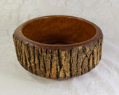 Wood Bark Bowl- Vintage, Antique- Heavy Wooden Bowl with Bark Edge- Nut Bowl with nut cracker- 9 inch diameter-