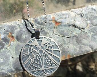 Owl Necklace,Wise Owl Jewelry,Wisdom Charm,Artimis,Talisman Necklace,Owl Coin necklace,Owl Necklace,Wisdom Owl,Pyramid,Balance,Long Chain