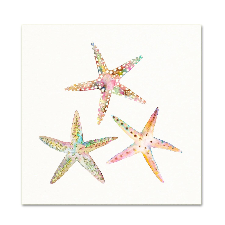 Watercolor Starfish Art Print. Pink Coastal Art. Starfish