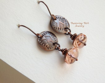 Pale Pink Earrings, Copper Earrings, Czech Glass Bead Drop Earrings, Hand Stamped Copper Charms, Small Earrings, Artisan Copper Jewelry