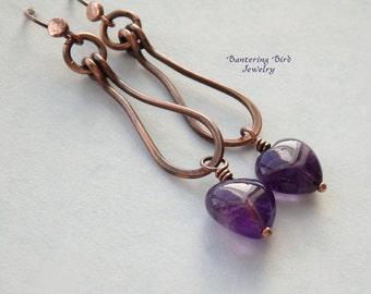 Amethyst Earrings, Heart Earrings, Unusual Hoop Earrings, Long Copper Loop, Purple Gemstone, February Birthstone, Boho Jewelry