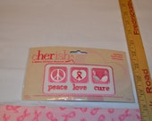 peace love cure  Cherish Breast Cancer Iron-On Applique Patch