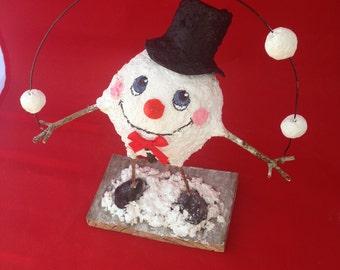 Snowman juggling, winter decor, Christmas decor hand sculpted paper mâché clay,paper mâché figurine sculpture, tabletop