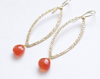 Dangle earrings with carnelian, 14K gold filled textured marquise. E312B.