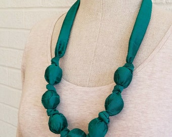 Emerald Green Silk Necklace - Nursing Teething Baby Safe Accessory, FREE Shipping, Made in USA, Forest, Evergreen, Raw Silk, Textured Silk