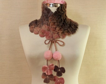 Leaf Scarf, Crochet Scarf Infinity, Neck Warmer, Lace Scarf, Flower Scarf, Pink Brown Cowl Neck, Wrap, Winter Fashion Gift Idea For Women