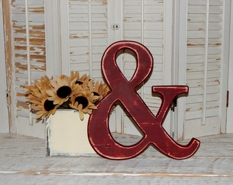 "Wooden Ampersand Sign Distressed Wood 12"" Tall Made To order Photo Props Wall Decor"